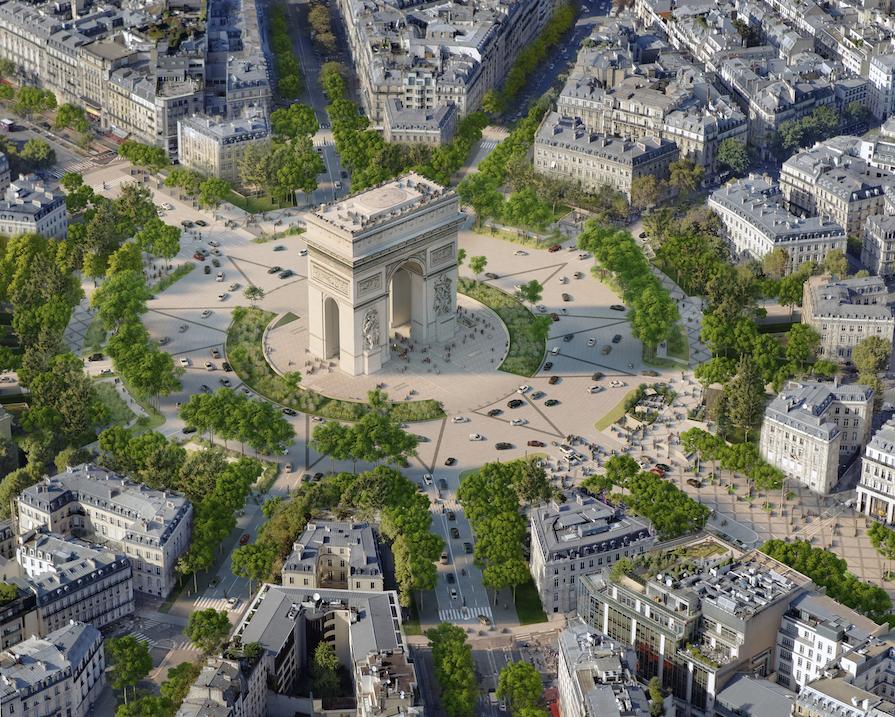 Přeměna západního konce Champs-Élysées s Vítězným obloukem. Foto PCA-Stream
