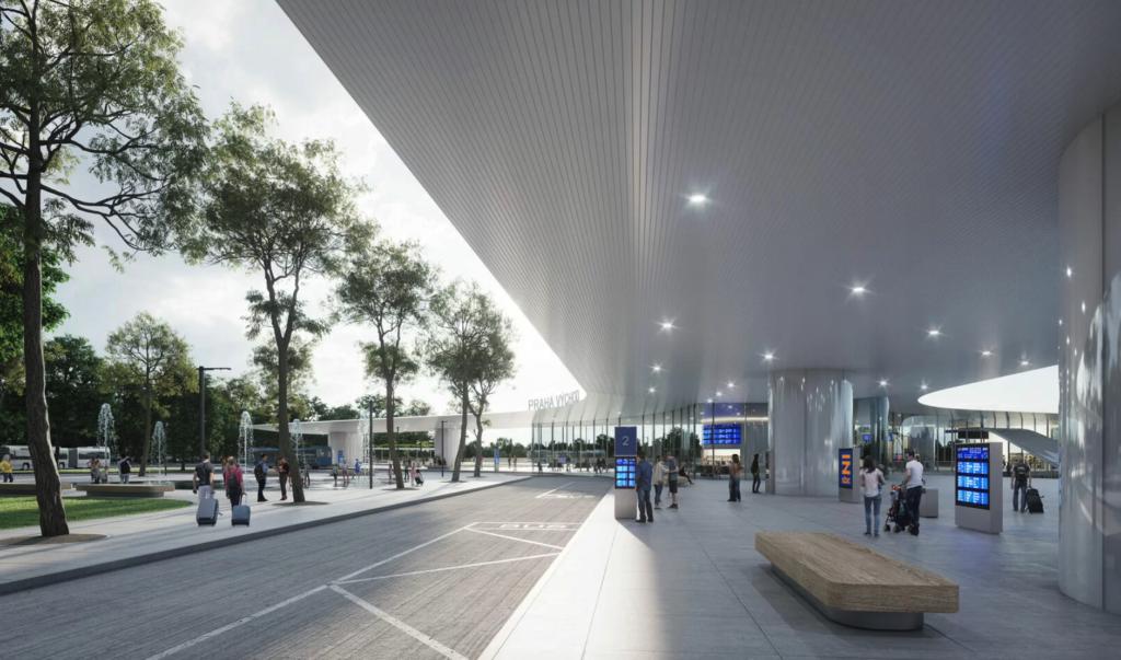 Vizualizace terminálu VRT s pracovním názvem Praha východ. Vizualizace Dousek-Zaborský