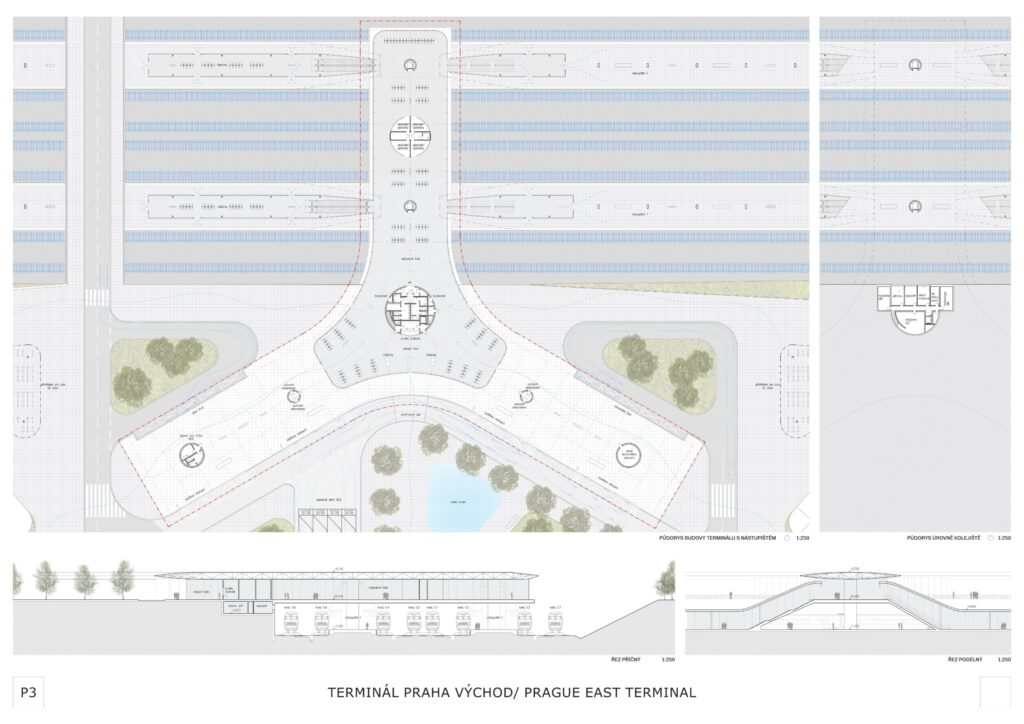 Vítězný návrh na terminál vysokorychlostní tratě u středočeských Nehvizd.