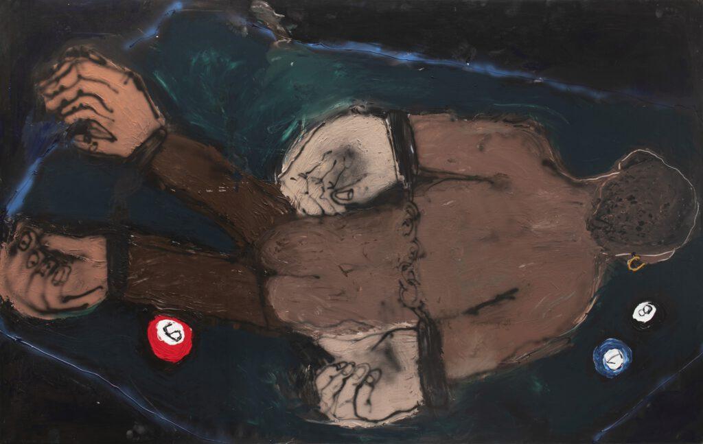 Ester Parasková - Znásilnění na kulečníkovém stole, 2020 akryl a sprej na plátně  -Katedra intermediální kontrontace - UMPRUM