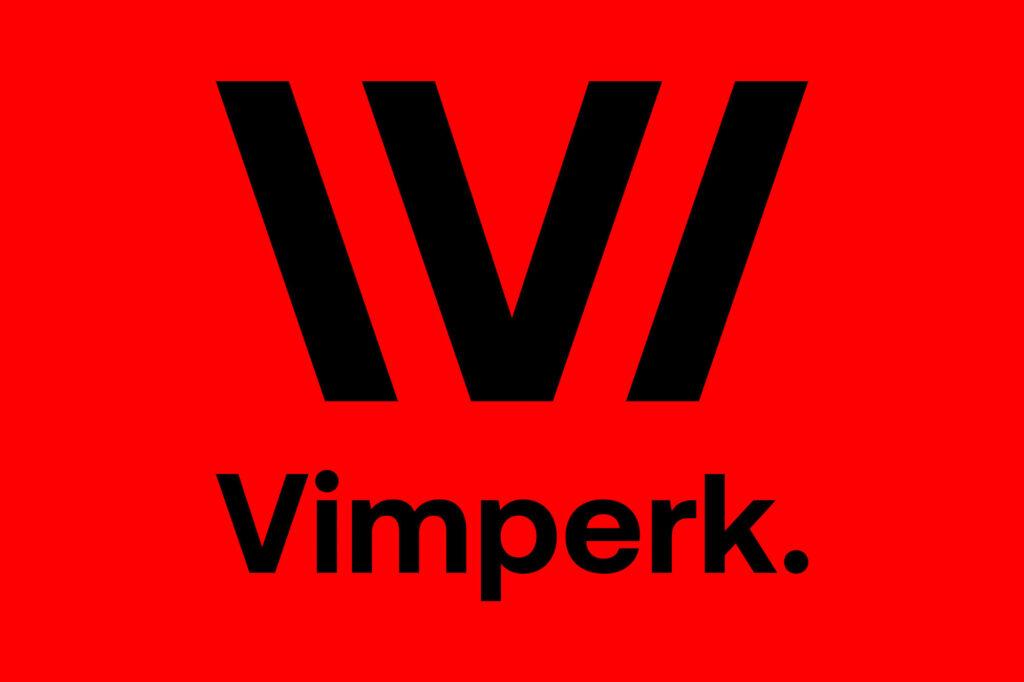 Logo odkazuje ke knihkařské tradici. Název města doplňuje tečka. Vimperk