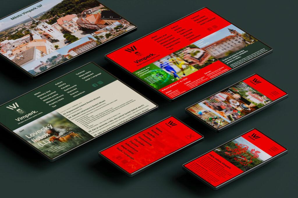 Vizuální identitu též doplňují tiskoviny či návrh webových stránek. Vimperk