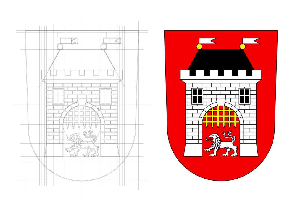 Součástí vizuální identity je též překreslení městského znaku, jež se vyvíjel od roku 1537. Vimperk
