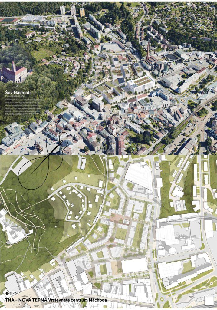 Návrh kanceláře gogolák+grasse pracuje se čtvrtí jako se ševem napojující se na historické centrum. Zdroj Město Náchod