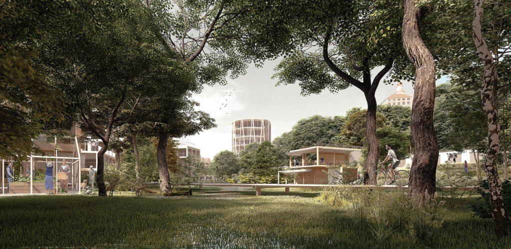 Jednou z dominant nové čtvrti by měl být kulatý věžák sloužící jako komunitní centrum. Zdroj Město Náchod